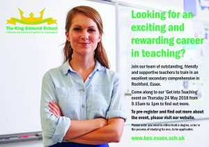 'Get Into Teaching' at KES on Thursday 24th May